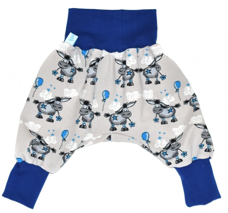 Kleinesbild - Baby oder Kinder Set Pumphose Mütze (Beanie oder Knotenmütze) Esel beige