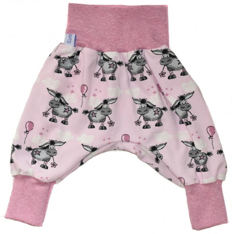 Kleinesbild - Baby oder Kinder Set Pumphose Mütze (Beanie oder Knotenmütze) Esel rosa