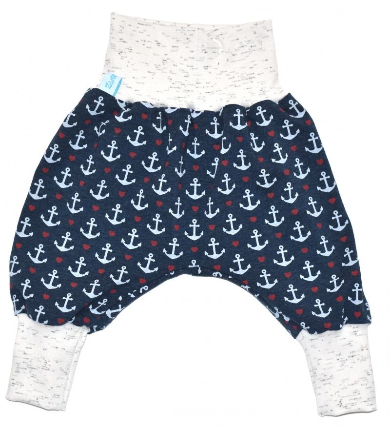 Kleinesbild - Baby oder Kinder Set Pumphose Mütze (Beanie oder Knotenmütze) Anker, blau, maritim