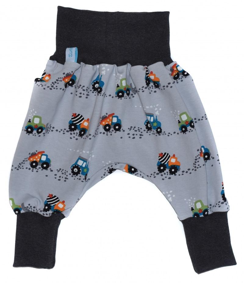 Kleinesbild - Baby oder Kinder Set Pumphose Mütze (Beanie oder Knotenmütze) Baustellen Autos