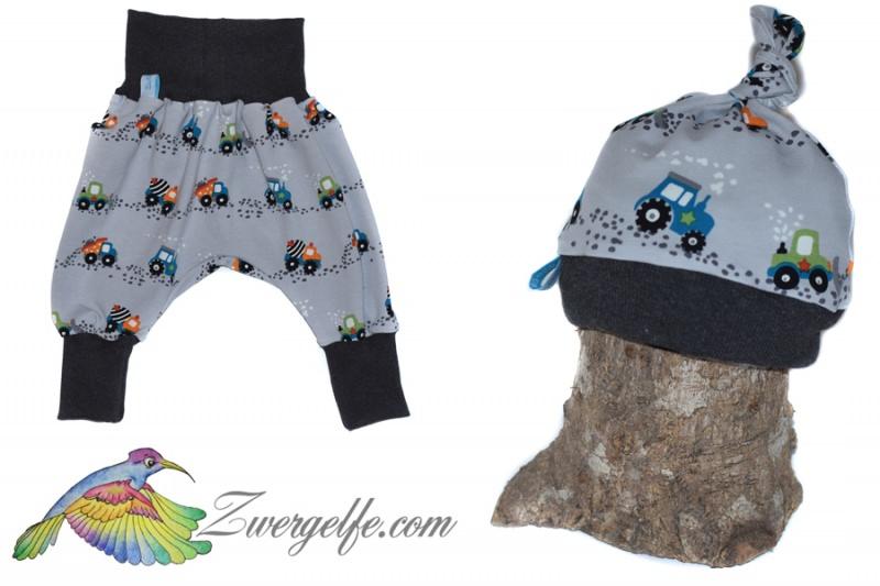 - Baby oder Kinder Set Pumphose Mütze (Beanie oder Knotenmütze) Baustellen Autos - Baby oder Kinder Set Pumphose Mütze (Beanie oder Knotenmütze) Baustellen Autos