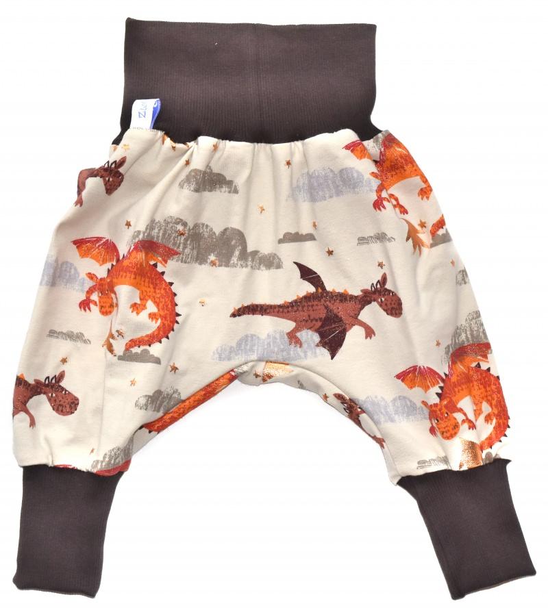Kleinesbild - Baby oder Kinder Set Pumphose Mütze (Beanie oder Knotenmütze) Drache, Drachen