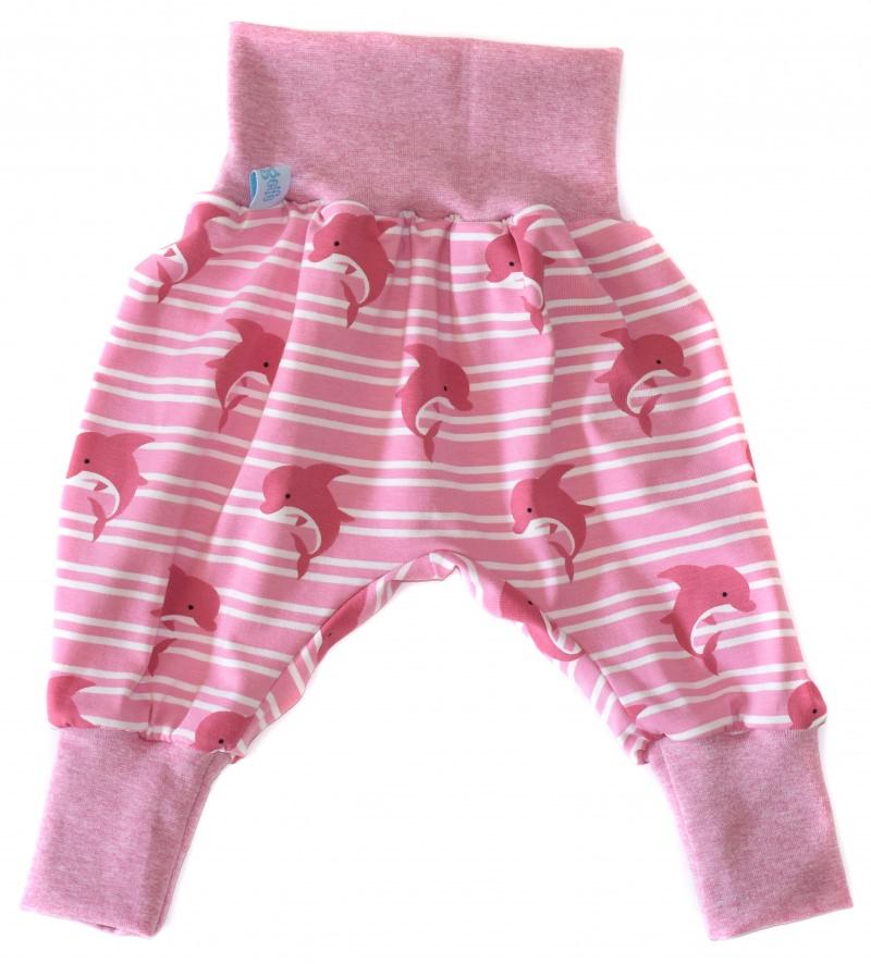 Kleinesbild - Baby oder Kinder Set Pumphose Mütze (Beanie oder Knotenmütze) Delfine, rosa