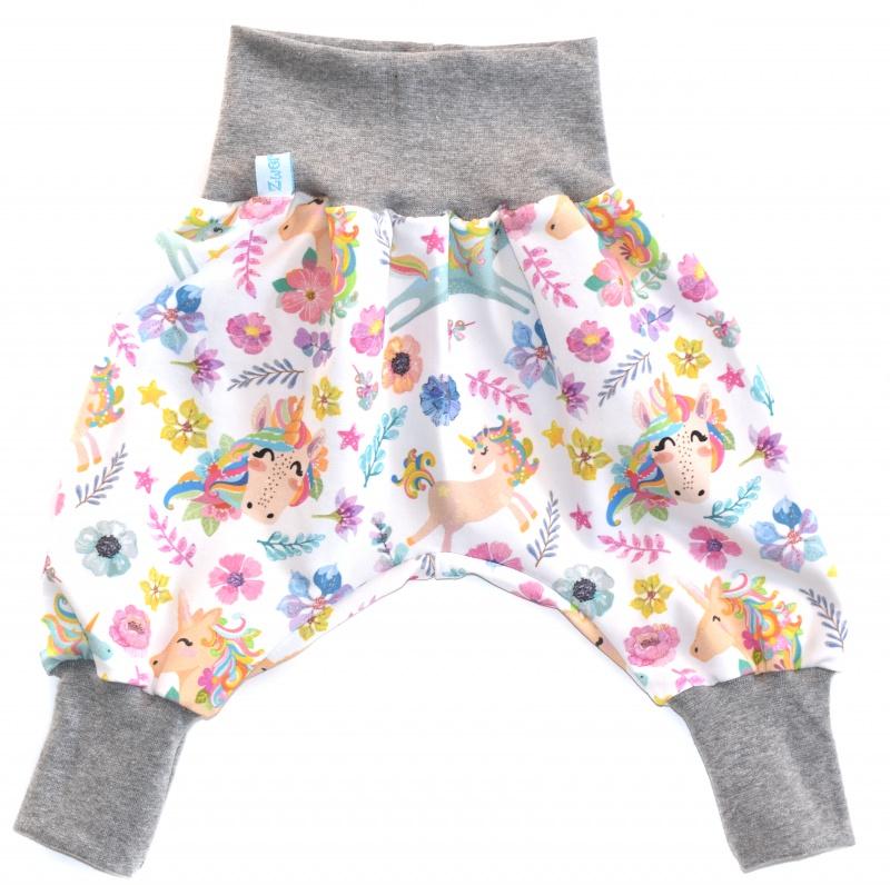 Kleinesbild - Baby oder Kinder Set Pumphose Mütze (Beanie oder Knotenmütze) Einhörner, Einhorn, Blumen