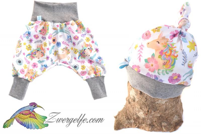 - Baby oder Kinder Set Pumphose Mütze (Beanie oder Knotenmütze) Einhörner, Einhorn, Blumen - Baby oder Kinder Set Pumphose Mütze (Beanie oder Knotenmütze) Einhörner, Einhorn, Blumen
