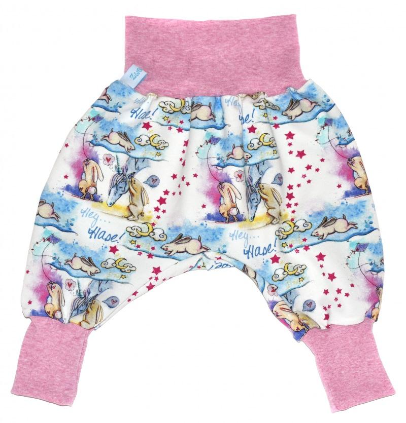 Kleinesbild - Baby oder Kinder Set Pumphose Mütze (Beanie oder Knotenmütze) Einhörner, Einhorn, Hase