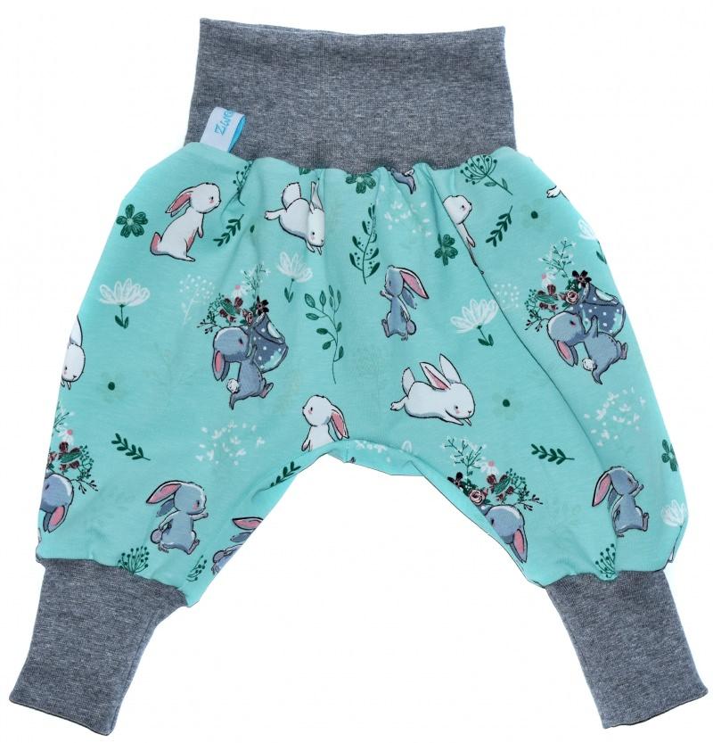 Kleinesbild - Baby oder Kinder Set Pumphose Mütze (Beanie oder Knotenmütze) Hase, Kaninchen, Häschen, türkis