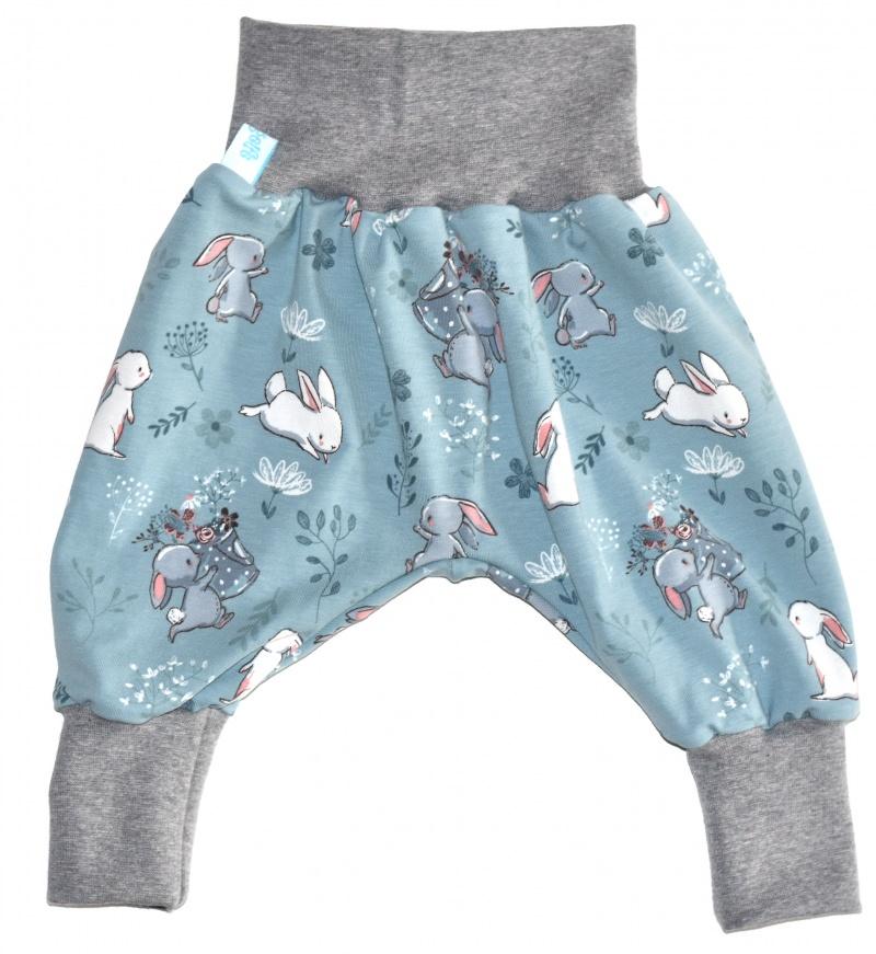 Kleinesbild - Baby oder Kinder Set Pumphose Mütze (Beanie oder Knotenmütze) Hase, Kaninchen, Häschen, rauchblau