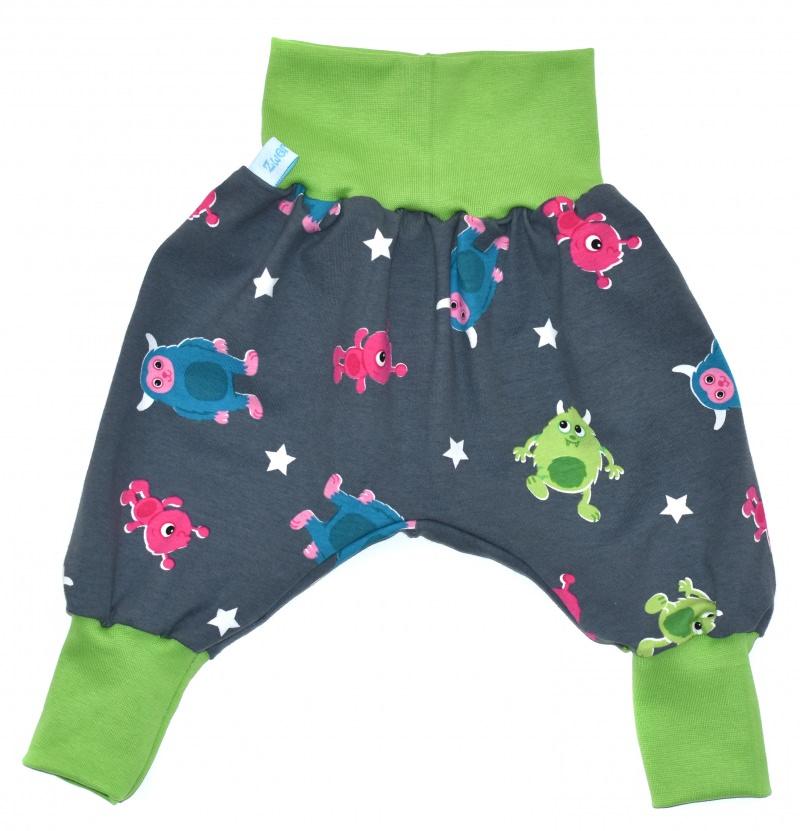 Kleinesbild - Baby oder Kinder Set Pumphose Mütze (Beanie oder Knotenmütze) Monster
