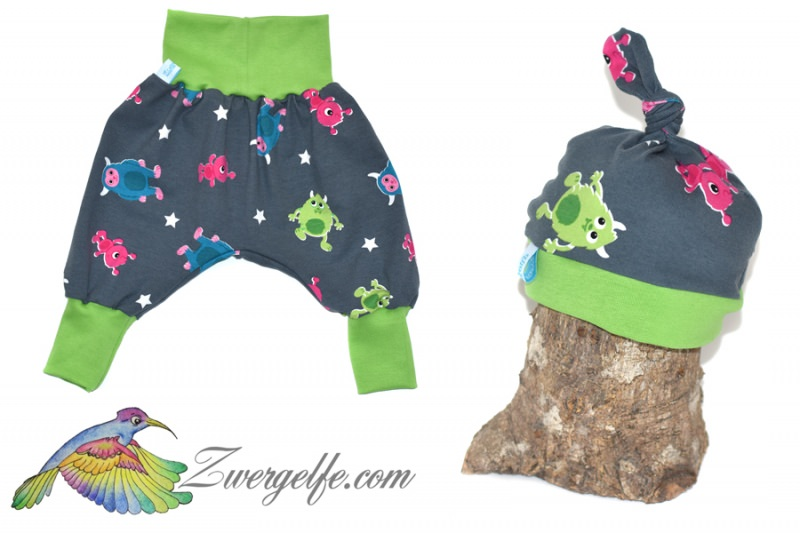- Baby oder Kinder Set Pumphose Mütze (Beanie oder Knotenmütze) Monster - Baby oder Kinder Set Pumphose Mütze (Beanie oder Knotenmütze) Monster