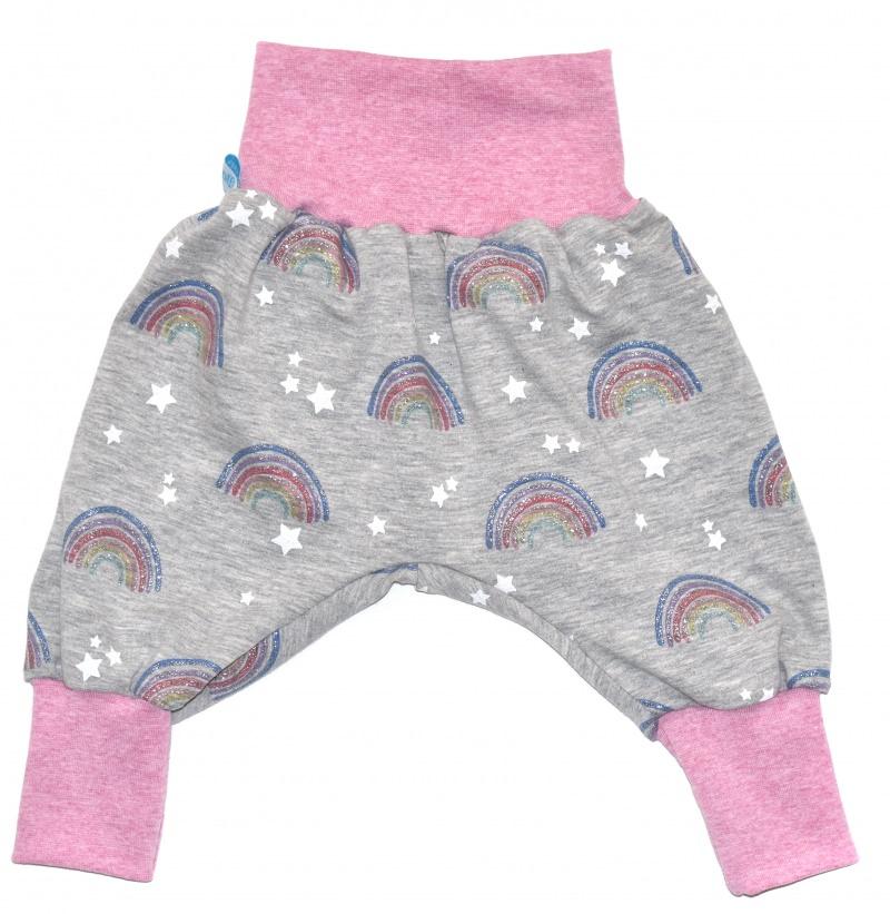Kleinesbild - Baby oder Kinder Set Pumphose Mütze (Beanie oder Knotenmütze) Regenbogen