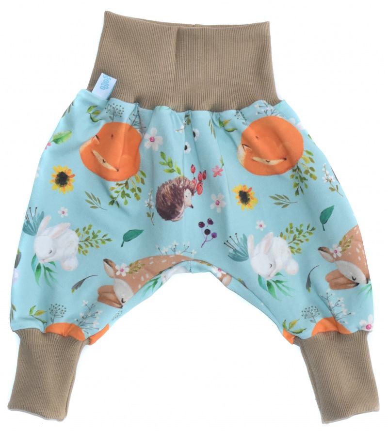 Kleinesbild - Baby oder Kinder Set Pumphose Mütze (Beanie oder Knotenmütze) Waldtiere, Reh, Igel, Fuchs, Hase