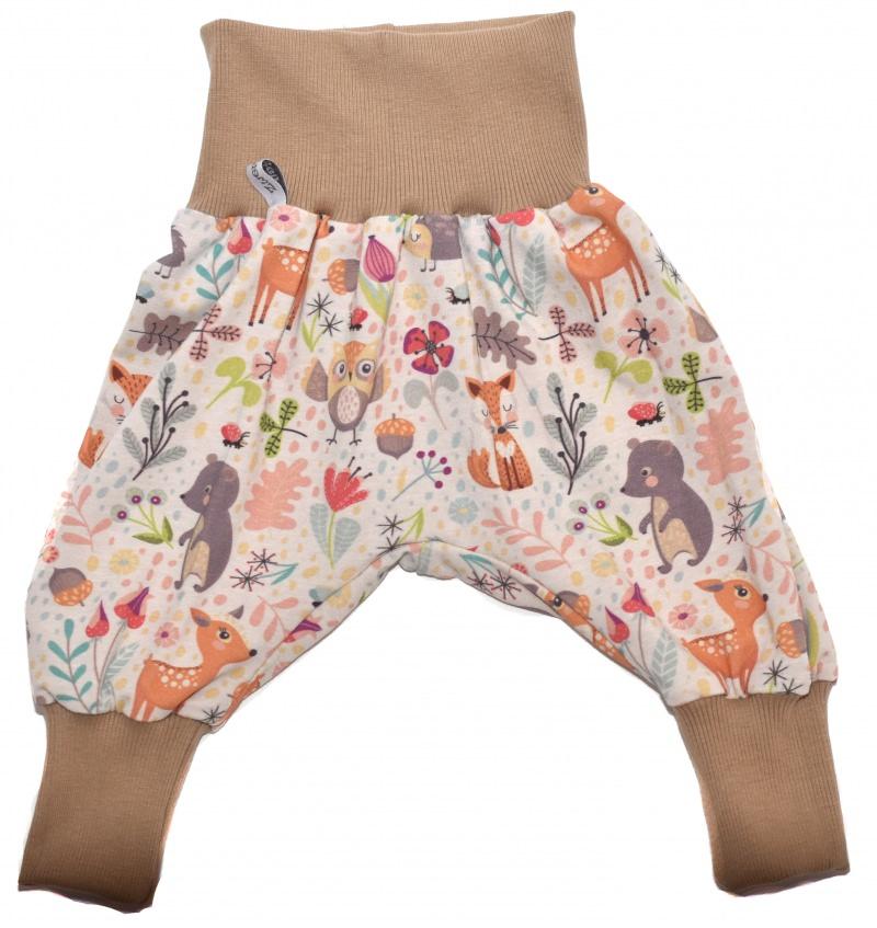 Kleinesbild - Baby oder Kinder Set Pumphose Mütze (Beanie oder Knotenmütze) Waldtiere, Reh, Igel, Bär, Eule