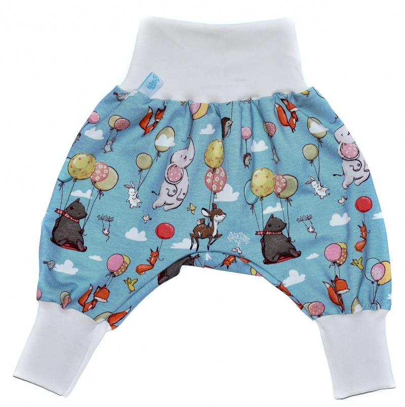 Kleinesbild - Baby oder Kinder Set Pumphose Mütze (Beanie oder Knotenmütze) Luftballons, Tiere