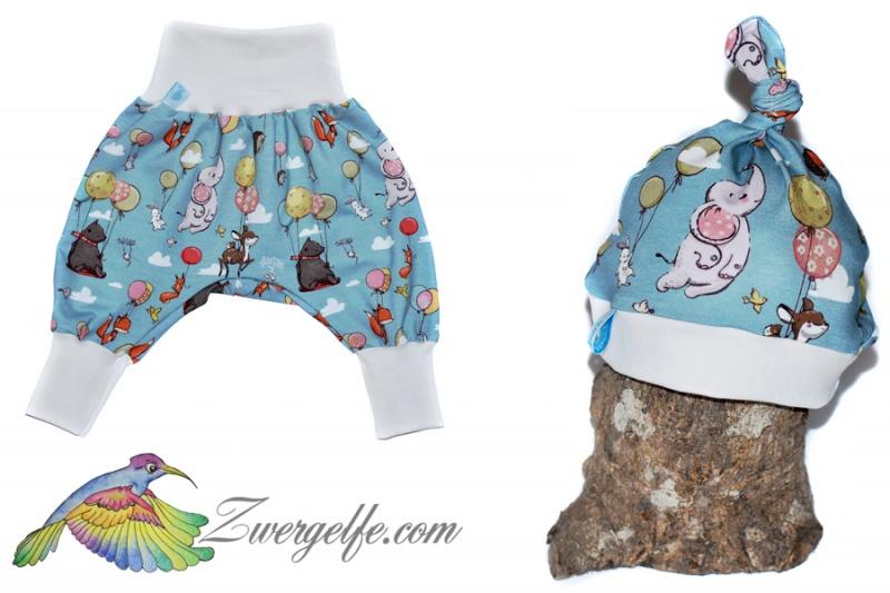 - Baby oder Kinder Set Pumphose Mütze (Beanie oder Knotenmütze) Luftballons, Tiere - Baby oder Kinder Set Pumphose Mütze (Beanie oder Knotenmütze) Luftballons, Tiere