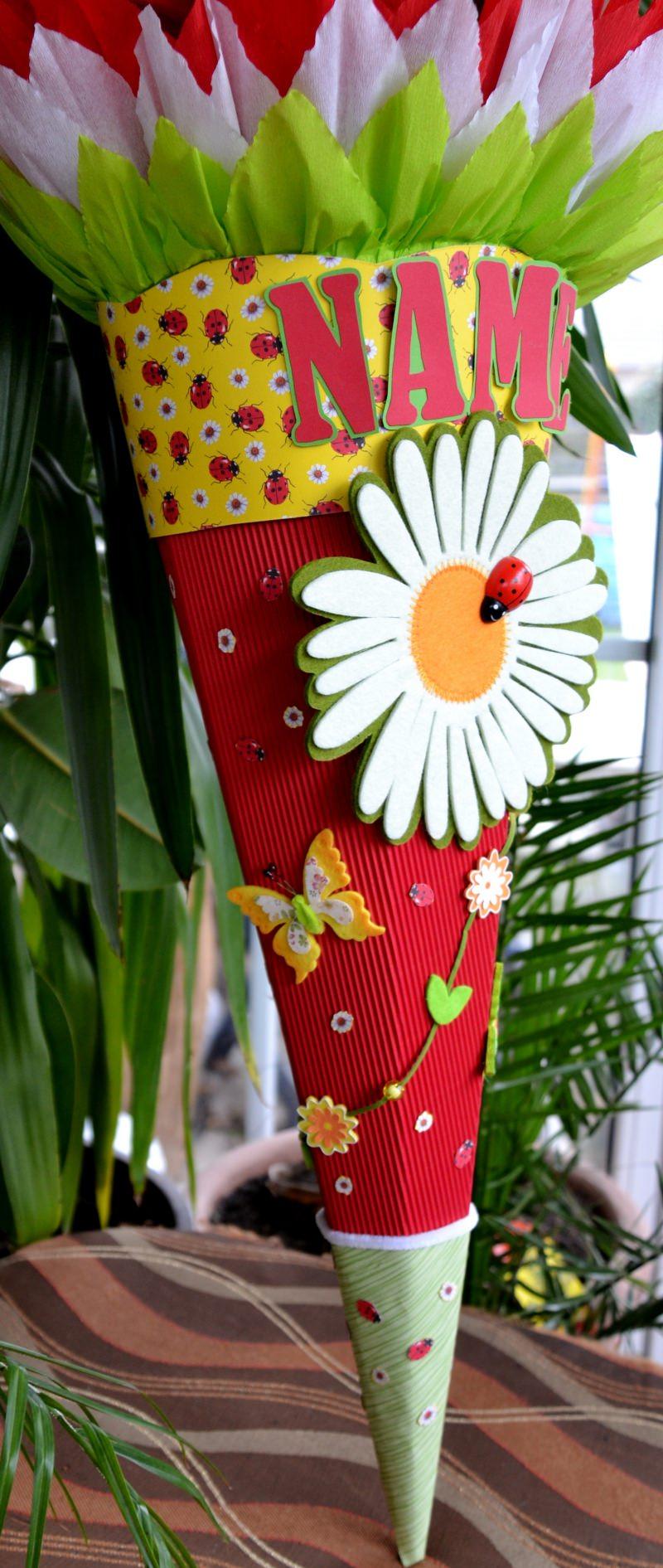 Kleinesbild - Schultüte Zuckertüte Marienkäfer neu Einschulung Blume Schmetterling Rohling 68