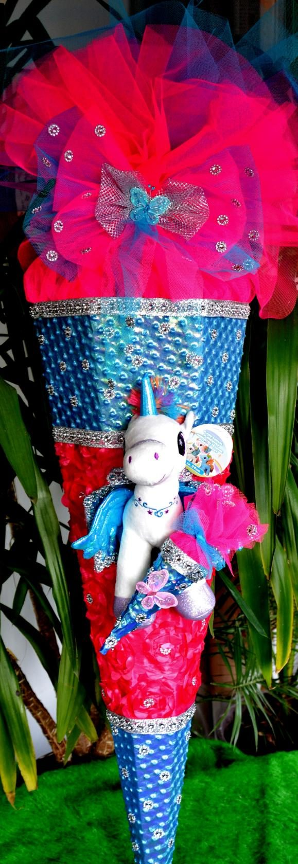 Kleinesbild -  150 cm  Schultüte Einhorn Pferd Pegasus  XXXL Schultüte  Schmetterling