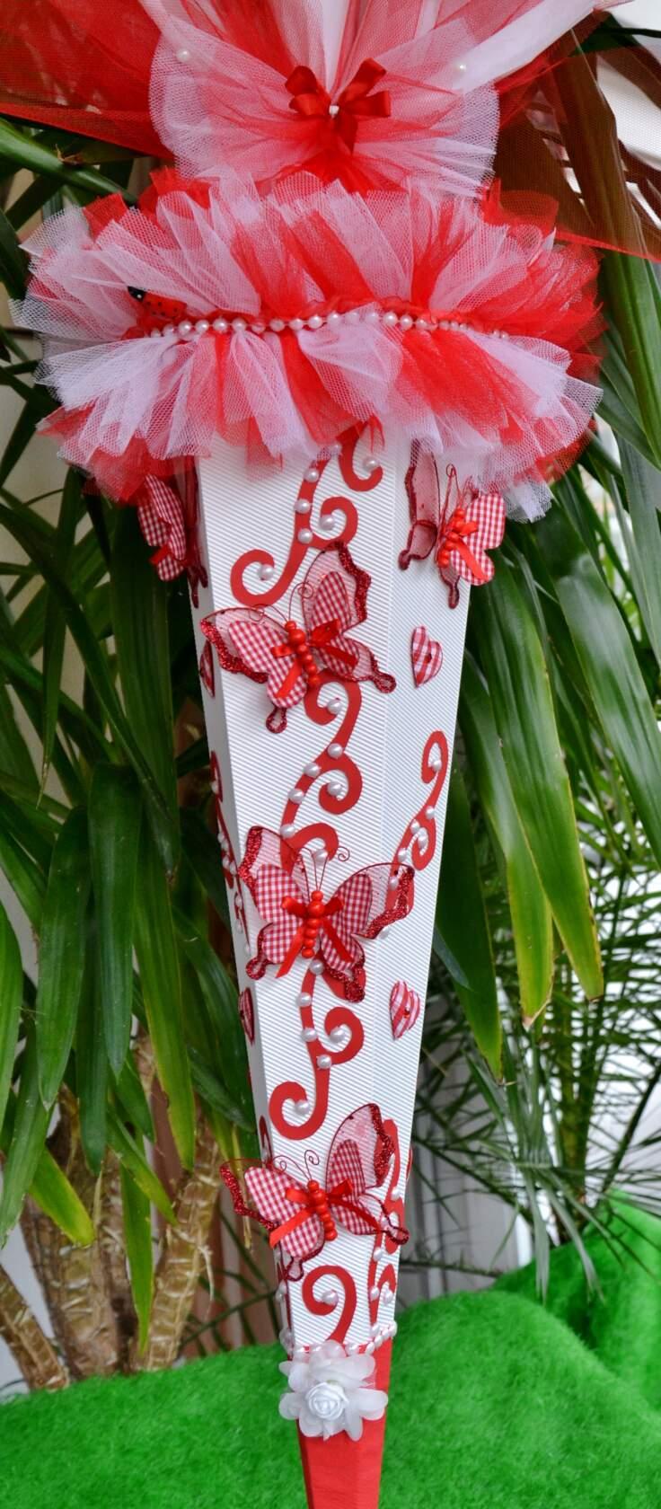 -  120 cm Schultüte Schmetterling   Zuckertüte Blumen  für Mädchen rot weiß -  120 cm Schultüte Schmetterling   Zuckertüte Blumen  für Mädchen rot weiß