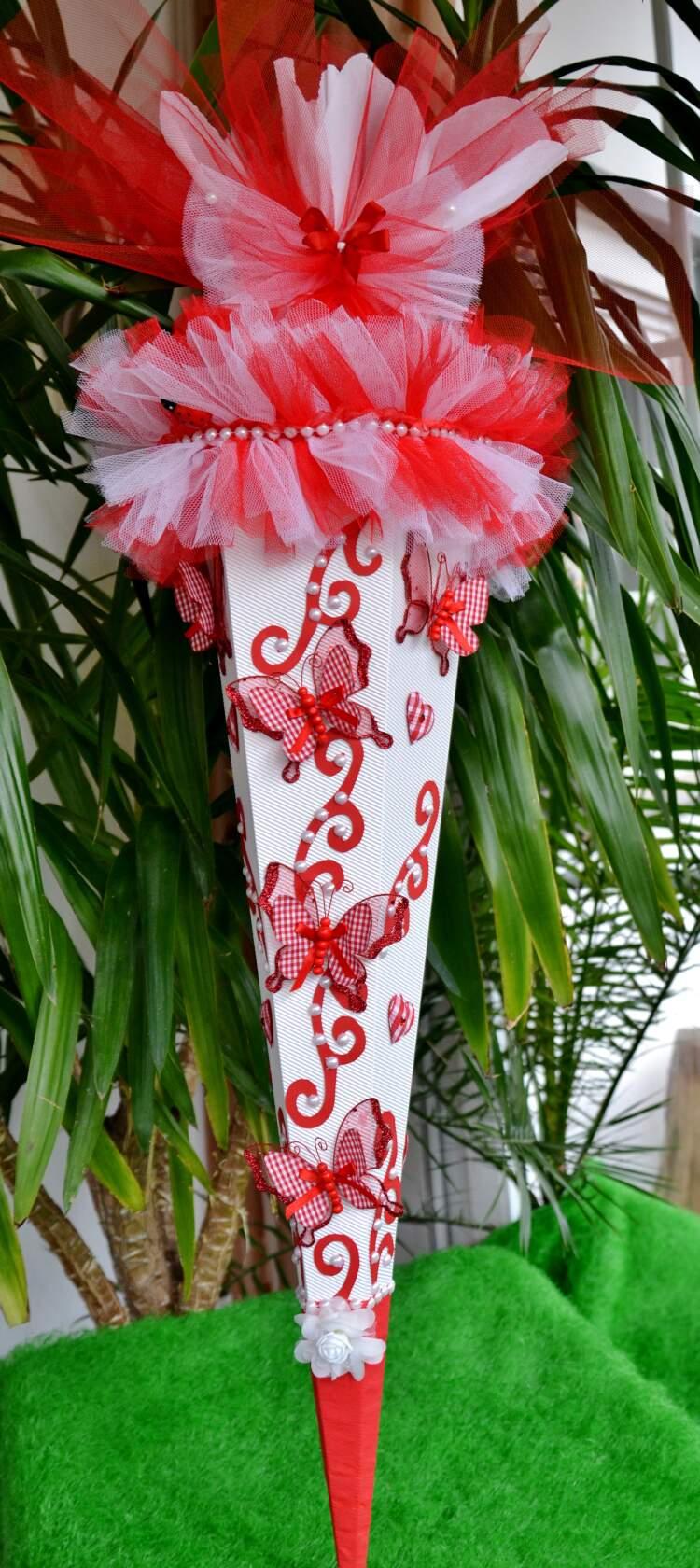 Kleinesbild -  120 cm Schultüte Schmetterling   Zuckertüte Blumen  für Mädchen rot weiß