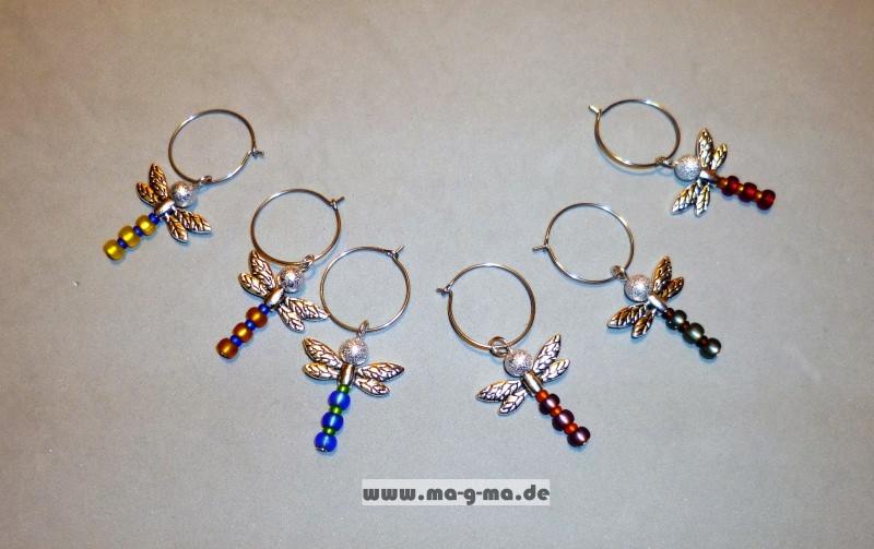 - Glasmarkierer mit stilvoller, farbiger Libelle 6er Set - Glasmarkierer mit stilvoller, farbiger Libelle 6er Set