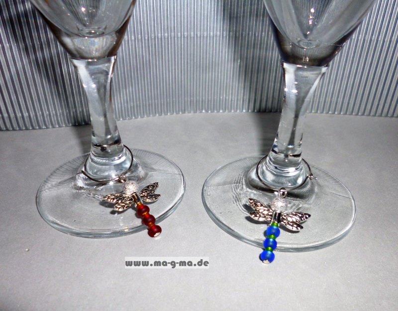 Kleinesbild - Glasmarkierer mit stilvoller, farbiger Libelle 6er Set