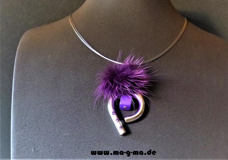 - edle Designer Halskette mit Puschel und Zirkonia - ohne Versandkosten kaufen  - edle Designer Halskette mit Puschel und Zirkonia - ohne Versandkosten kaufen