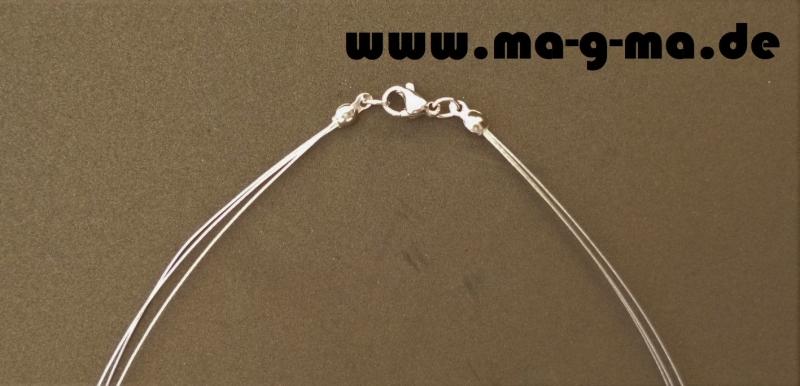 Kleinesbild - edle Designer Halskette mit Puschel und Zirkonia - ohne Versandkosten kaufen