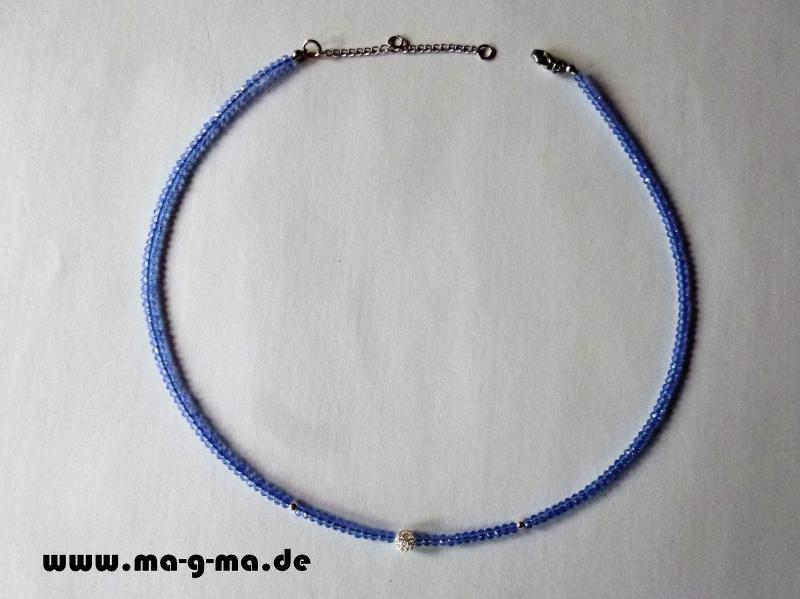 Kleinesbild - Facett-Glasperlen-Kette in Eisblau mit 925er Silberkugeln - ohne Versandkosten kaufen