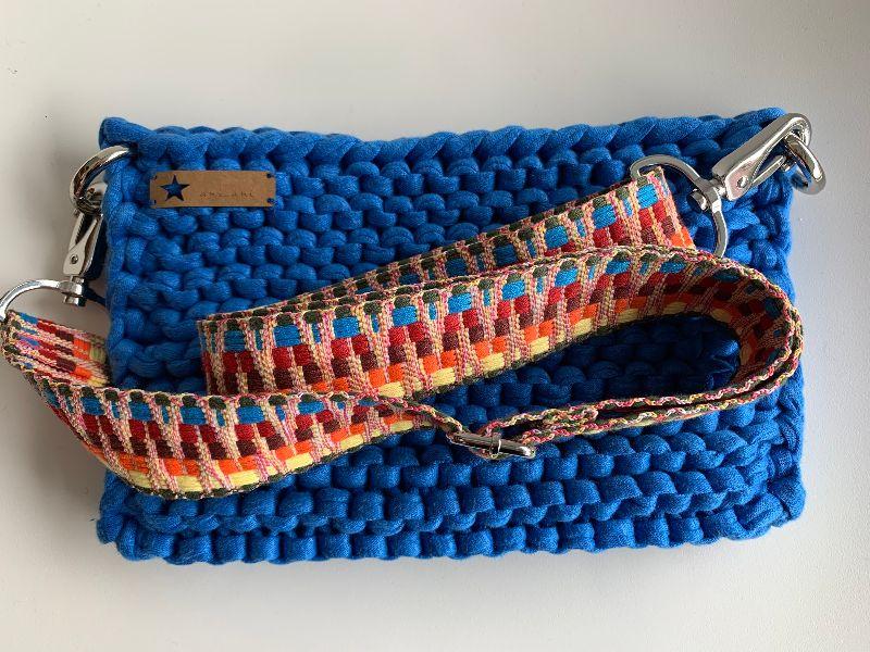 Kleinesbild - ☆LOTTE_blau Umhängetasche aus recyceltem Stoff mit verstellbarem Gurt