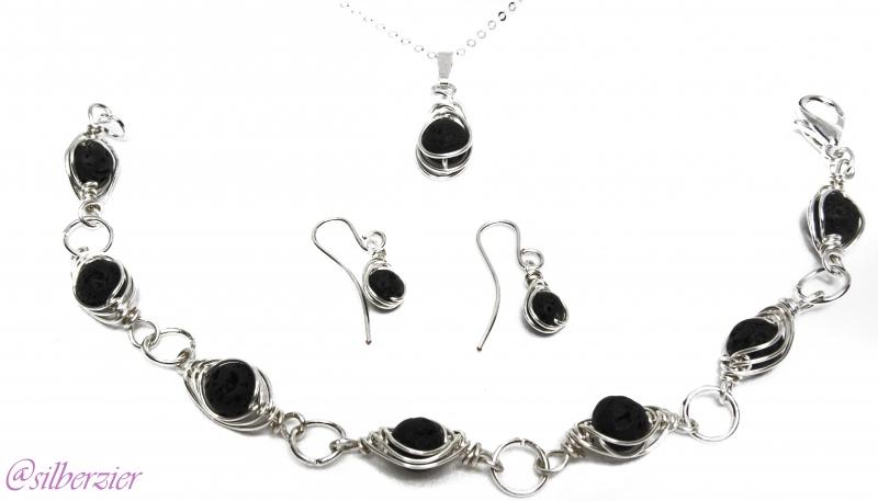 - Schmuckset Lava 3 teilig Kette Armband Ohrhänger - Schmuckset Lava 3 teilig Kette Armband Ohrhänger