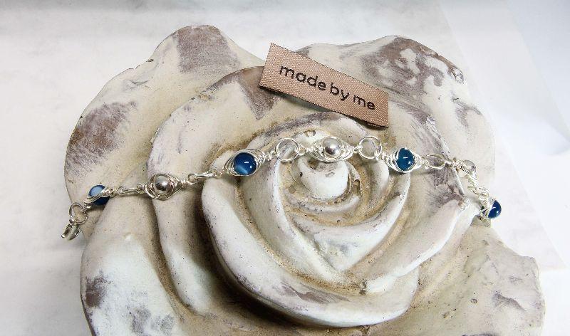 Kleinesbild - Armband Achatperle blau  Handmade jetzt bestellen