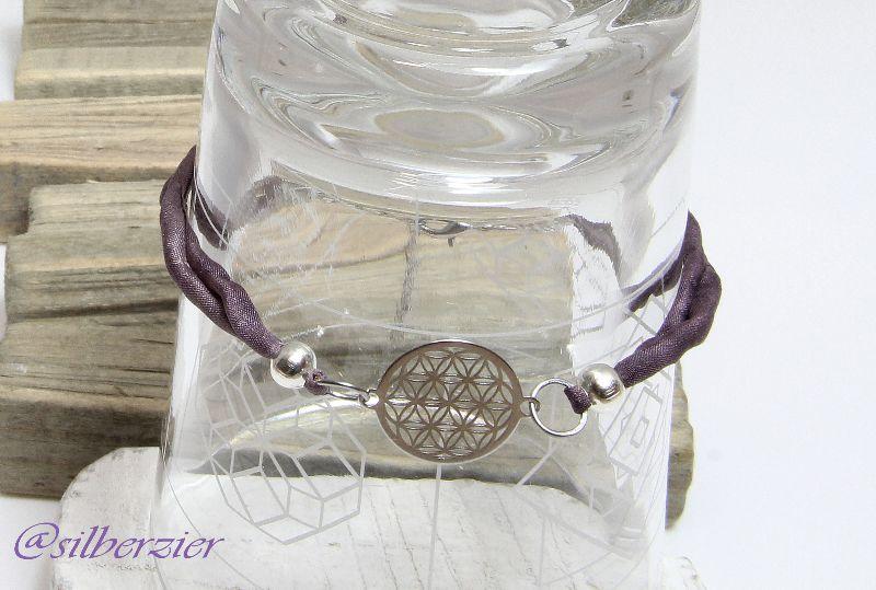 - Armband Seide violett Blume des Lebens Handarbeit kaufen  - Armband Seide violett Blume des Lebens Handarbeit kaufen