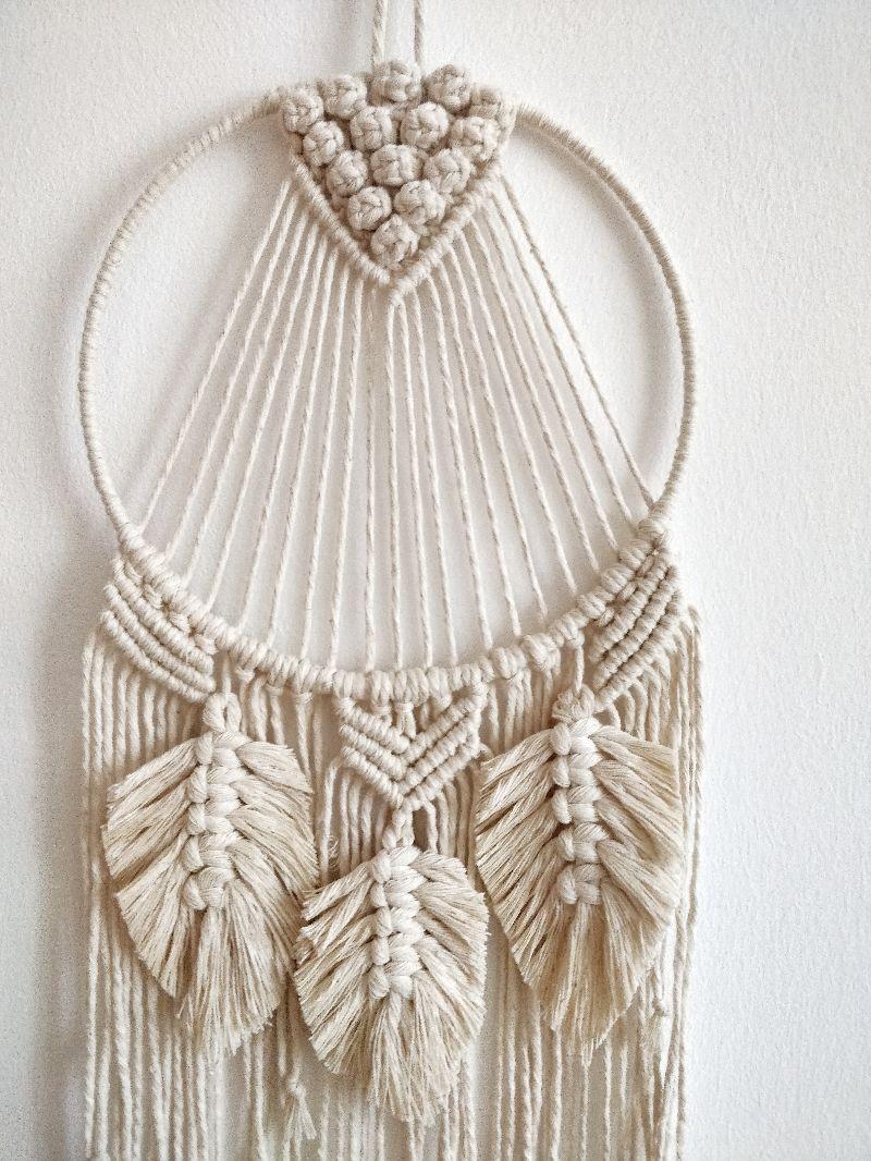 Kleinesbild - Makramee-Traumfänger Mila mit Federn | Boho | Bohochic | Ethno | Wanddeko | Wandbehang | geknüpft | geknotet