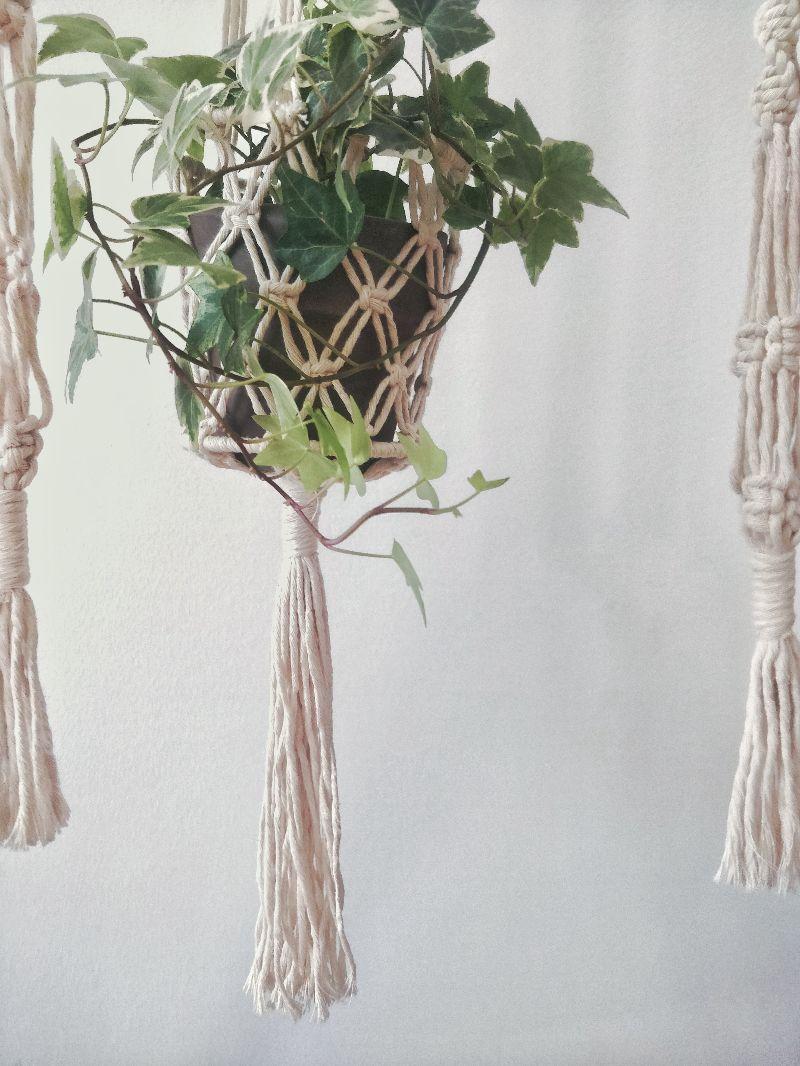 Kleinesbild - Blumenampel Sophia | plant hanger | Boho | Entho | Bohochic | Pflanzen | creme | urban jungle