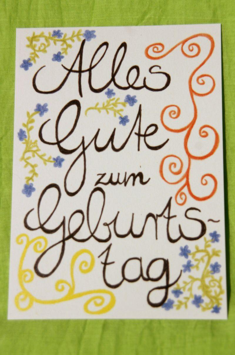 """- Mit Freude gemalte Karte """"Alles Gute zum Geburtstag"""" - Mit Freude gemalte Karte """"Alles Gute zum Geburtstag"""""""