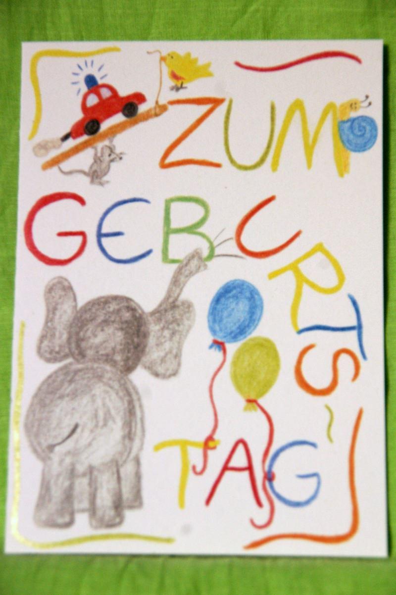 """- Bunte, mit Freude gemalte Klappkarte """"Zum Geburtstag"""" - Bunte, mit Freude gemalte Klappkarte """"Zum Geburtstag"""""""