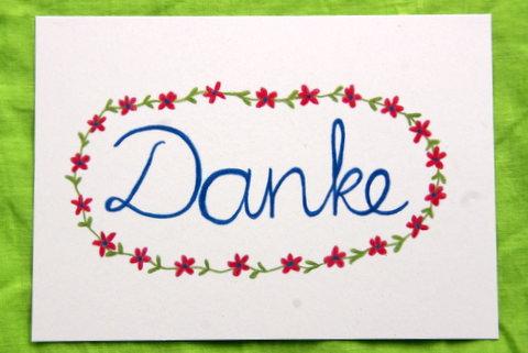 "- Mit Freude gemalte Karte ""Danke"" - Mit Freude gemalte Karte ""Danke"""