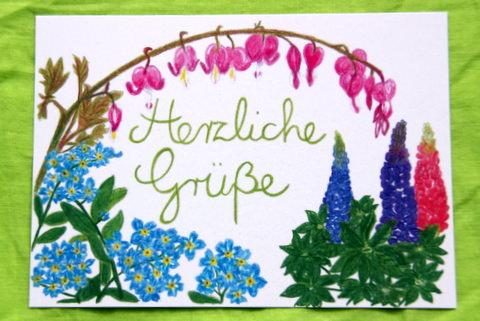 """- Handgemalte Blumenkarte """"Herzliche Grüße"""" - Handgemalte Blumenkarte """"Herzliche Grüße"""""""