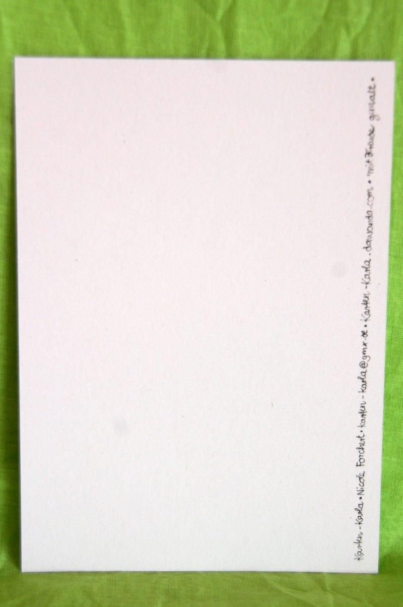 """Kleinesbild - Handgemalte Karte mit Blumenkranz und """"Liebe Grüße"""""""