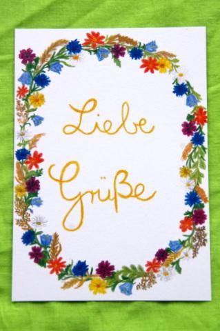 """- Handgemalte Karte mit Blumenkranz und """"Liebe Grüße"""" - Handgemalte Karte mit Blumenkranz und """"Liebe Grüße"""""""
