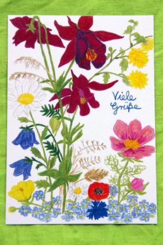 """- Handgemalte Blumenkarte """"Viele Grüße"""" - Handgemalte Blumenkarte """"Viele Grüße"""""""