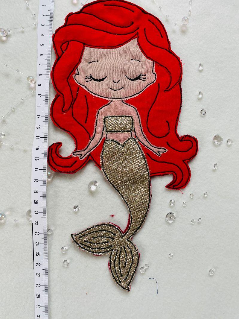 Kleinesbild - XXL Applikation, Aufnäher, Patch, Meerjungfrau Nixe Bügelbild gestickt handmade Patches,Patch,