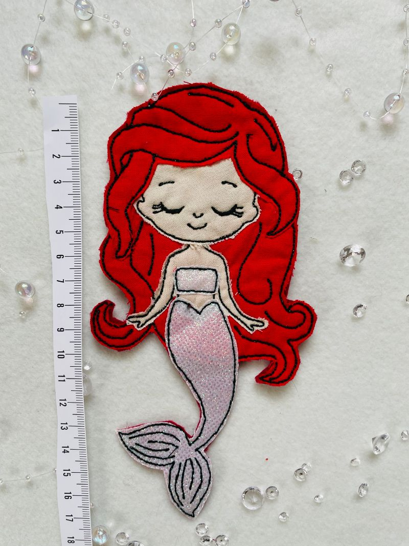 Kleinesbild -  Applikation, Aufnäher, Patch, Nixe Bügelbild, Meerjungfrau gestickt handmade Patches,