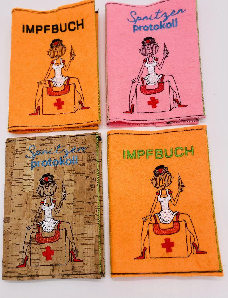- Impfpass Impfausweis Schwester aufklappbar gestickt Dokumenten Mappe  - Impfpass Impfausweis Schwester aufklappbar gestickt Dokumenten Mappe