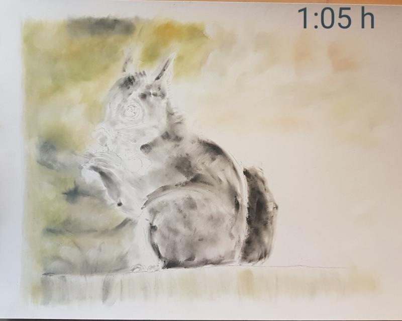 Kleinesbild - Eichhörnchen - Realistische Farbstiftzeichnung auf PastelMat Papier kaufen