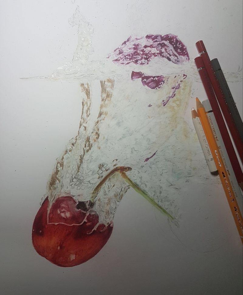 Kleinesbild - Realistische Farbstiftzeichnung Kirschen im Wasser, gezeichnet mit Faber Castell Albrecht Dürer Aquarellstiften auf PastelMat Papier kaufen
