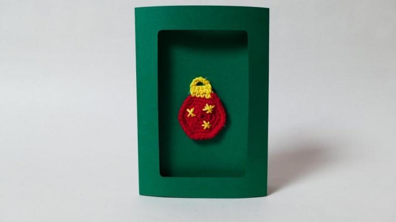 - Weihnachtskarte mit gehäkelter Christbaum-Kugel-Applikation ♥ - Weihnachtskarte mit gehäkelter Christbaum-Kugel-Applikation ♥