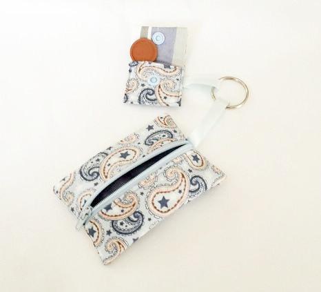 Kleinesbild - Tasche für Schlüssel und Einkaufwagenchip, genähte Geldbörse/ Schlüsseletui/ Geldbeutel/ Schlüsseletui/ Reisegeldbeutel