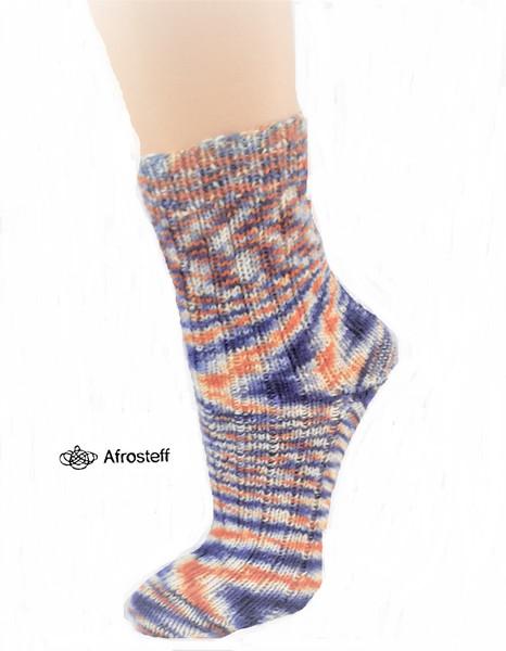 Kleinesbild - Handgestrickte Socken Gr. 38-40 im Rippenmuster/ Wollsocken aus handgefärbter Sockenwolle/ Stricksocken/ gestrickt