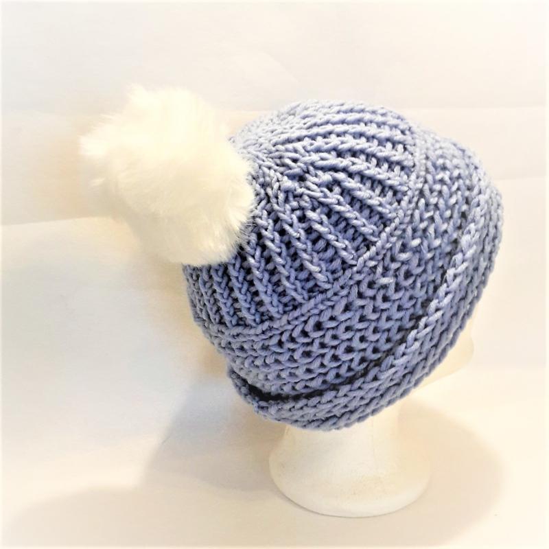 Kleinesbild - Warme Strickmütze mit Fellbommel, Wollmütze, gestrickte Wintermütze, Damenmütze, Herrenmütze, Unisex Strickmütze